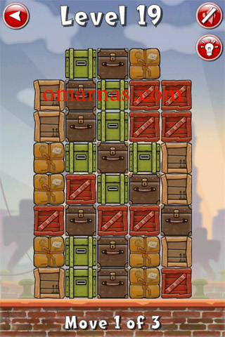 Move the Box Solutions Cheats : Hamburg Level 19 Move the middle green box, fourth row from bottom, up. Move the dark brown box, right end, up. Move the middle red box down.