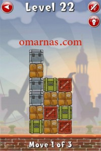 Move the Box Solutions Cheats : Hamburg Level 22 Move the red box, second row from bottom, right. Move the green box, bottom row, right. Move the blue box, top row, down.