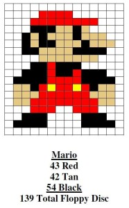 Mario Pixel Map Using Floppy Disks